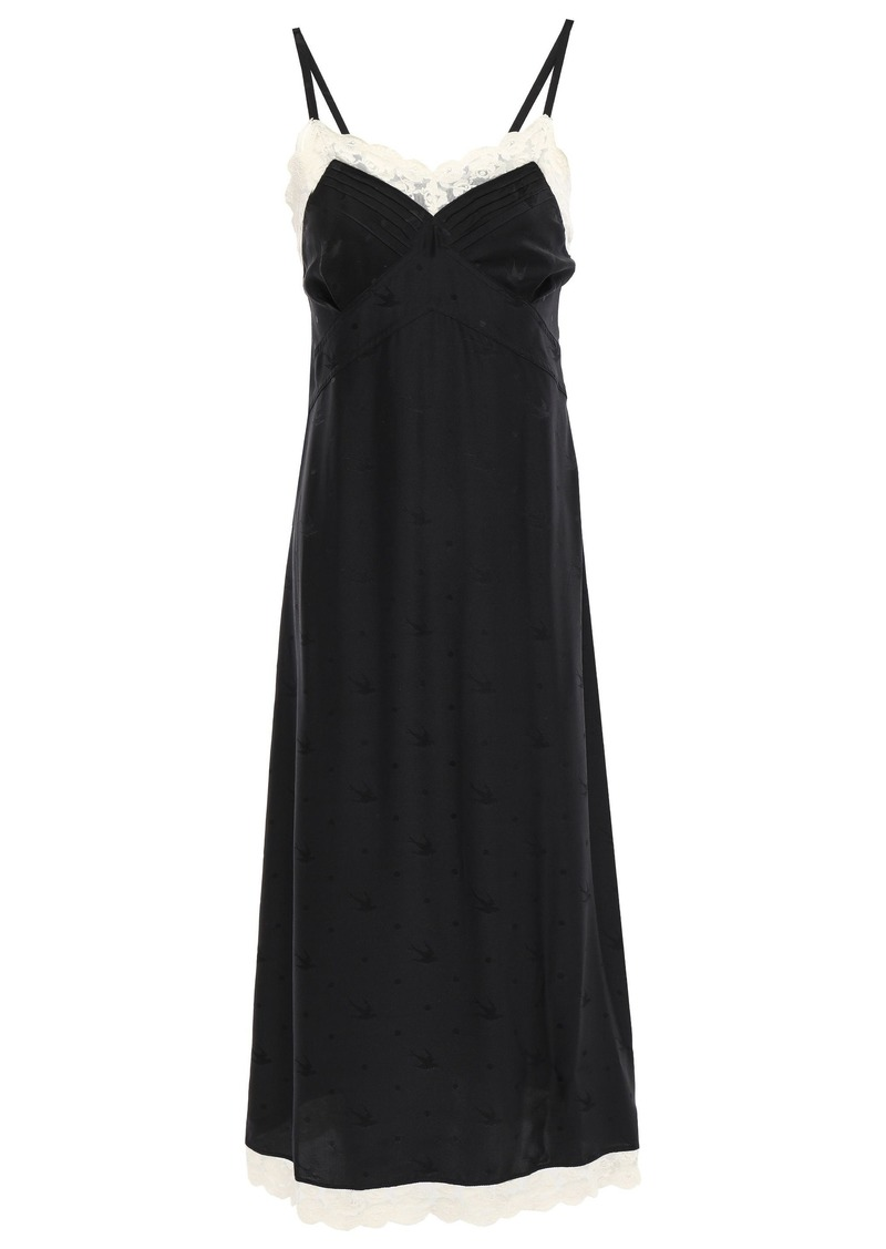 Mcq Alexander Mcqueen Woman Pintucked Lace-trimmed Silk-satin Jacquard Slip Dress Black