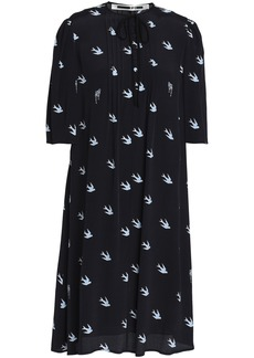 Mcq Alexander Mcqueen Woman Pintucked Printed Crepe Mini Dress Midnight Blue
