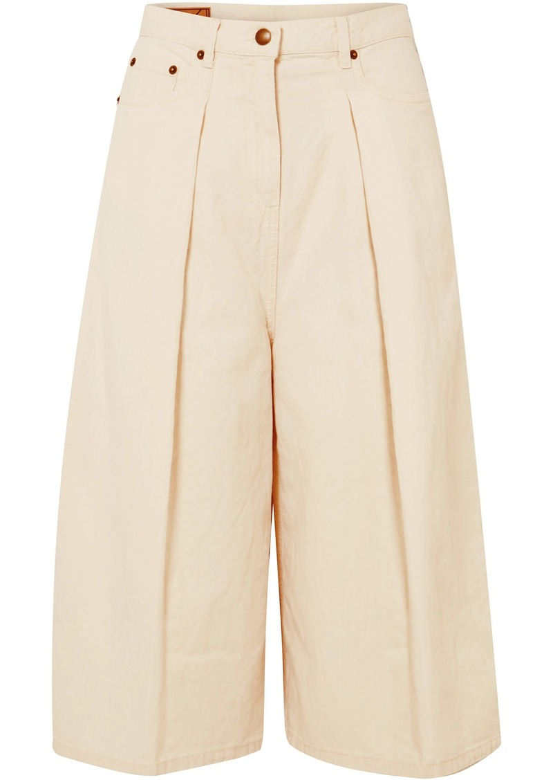 Mcq Alexander Mcqueen Woman Pleated Denim Culottes Cream