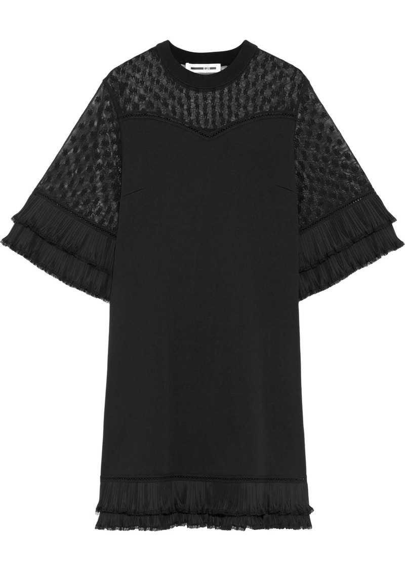 Mcq Alexander Mcqueen Woman Plissé-trimmed Embroidered Mesh-paneled Cotton Mini Dress Black