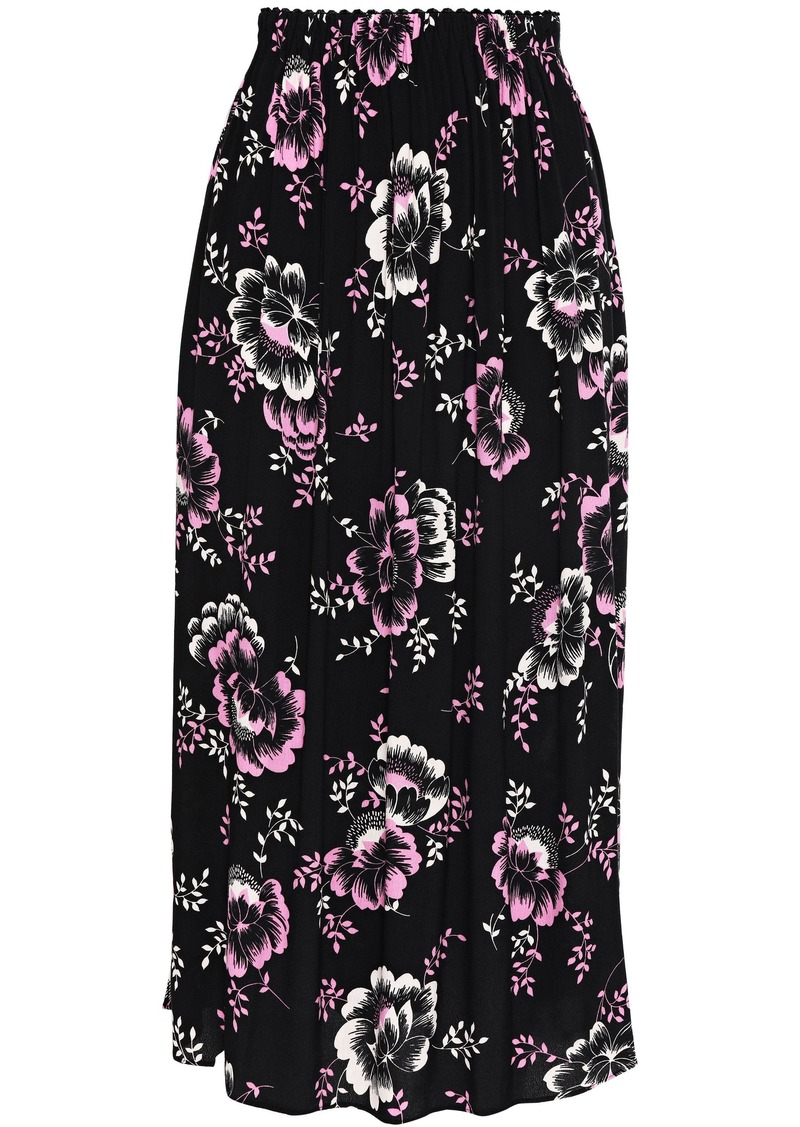 Mcq Alexander Mcqueen Woman Pleated Floral-print Crepe De Chine Midi Skirt Black