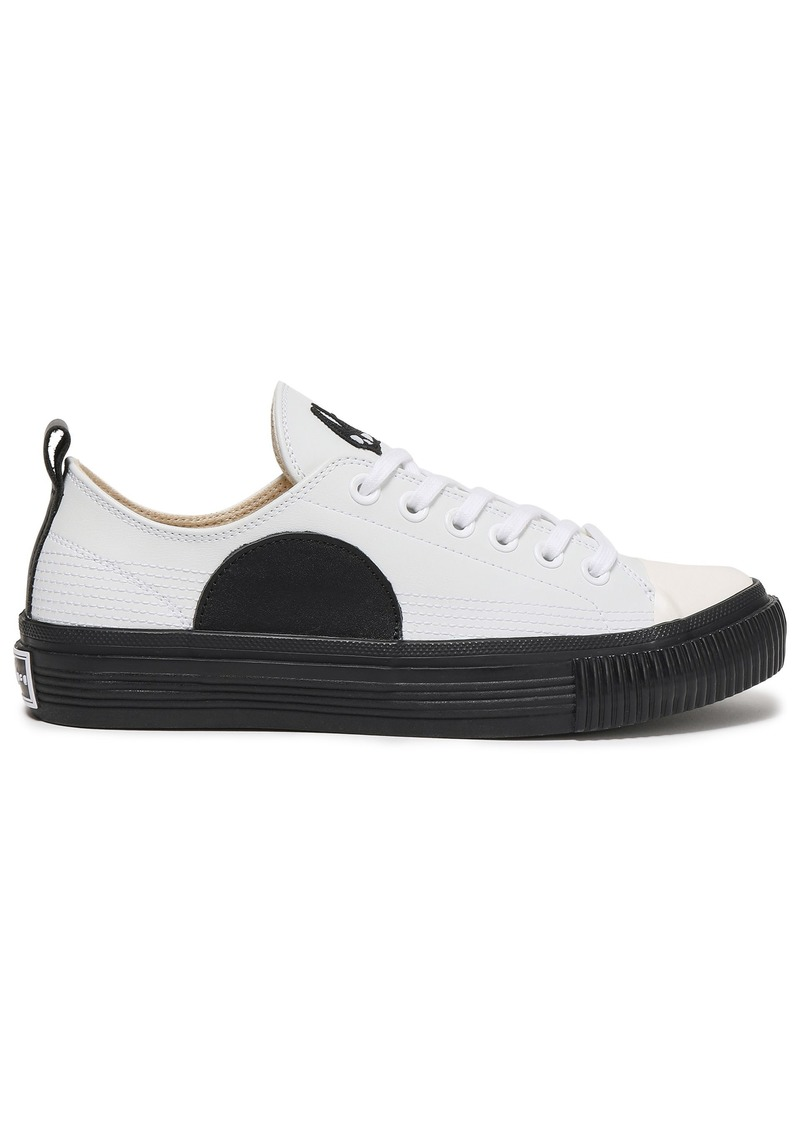 Mcq Alexander Mcqueen Woman Plimsoll Appliquéd Leather Sneakers White