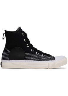 Mcq Alexander Mcqueen Woman Plimsoll Leather-trimmed Canvas High-top Sneakers Black