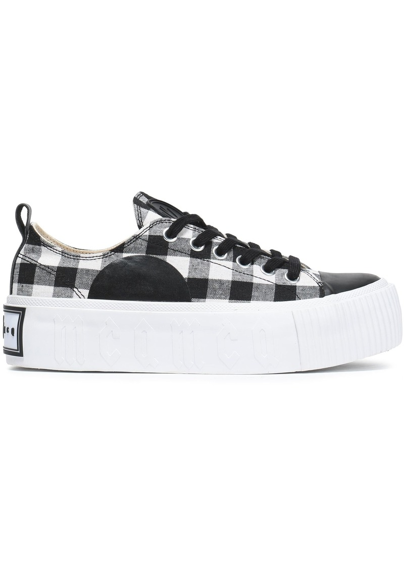 Mcq Alexander Mcqueen Woman Plimsoll Leather-trimmed Gingham Canvas Platform Sneakers Black