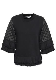 Mcq Alexander Mcqueen Woman Plissé-trimmed Lace-paneled Cotton Blouse Black