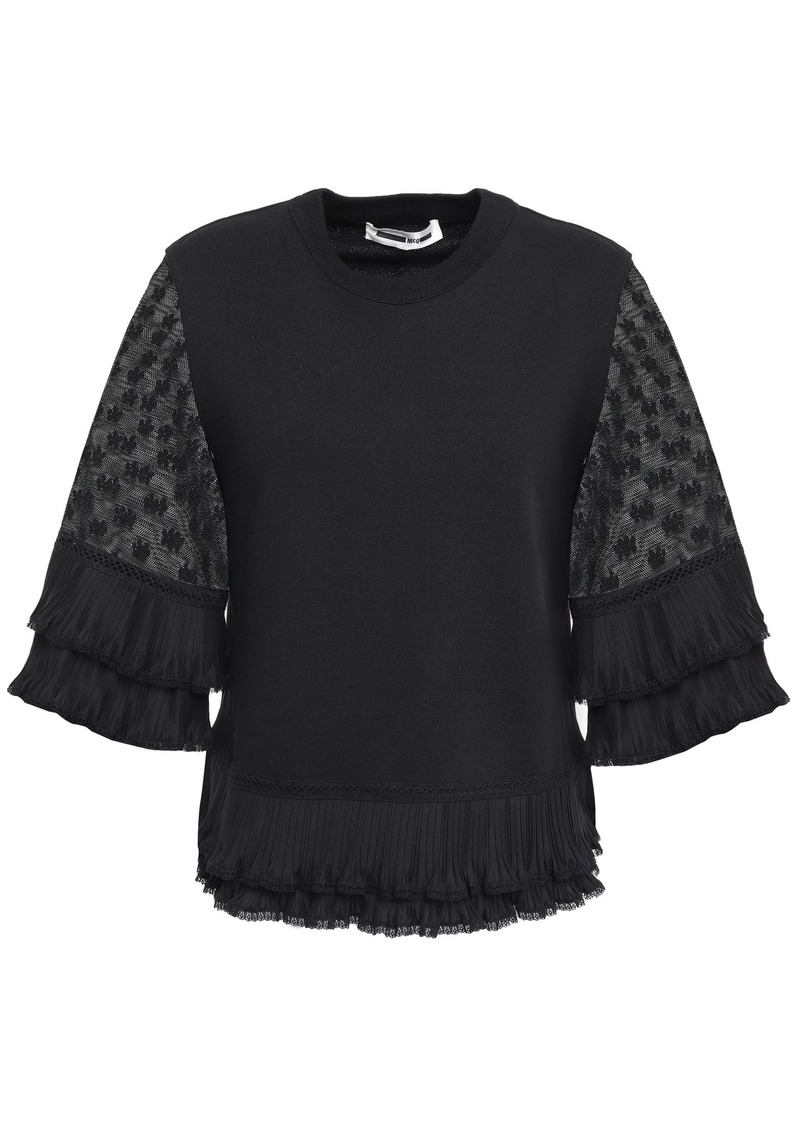Mcq Alexander Mcqueen Woman Plissé-trimmed Lace-paneled Cotton Blouse Black