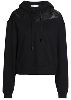 Mcq Alexander Mcqueen Woman Point D'esprit And Satin-paneled French Terry Hoodie Black