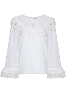 Mcq Alexander Mcqueen Woman Point D'esprit-paneled Ruffle-trimmed Cotton-voile Blouse White