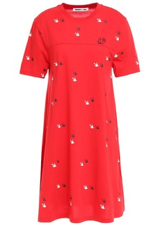 Mcq Alexander Mcqueen Woman Printed Cotton-jersey Mini Dress Tomato Red