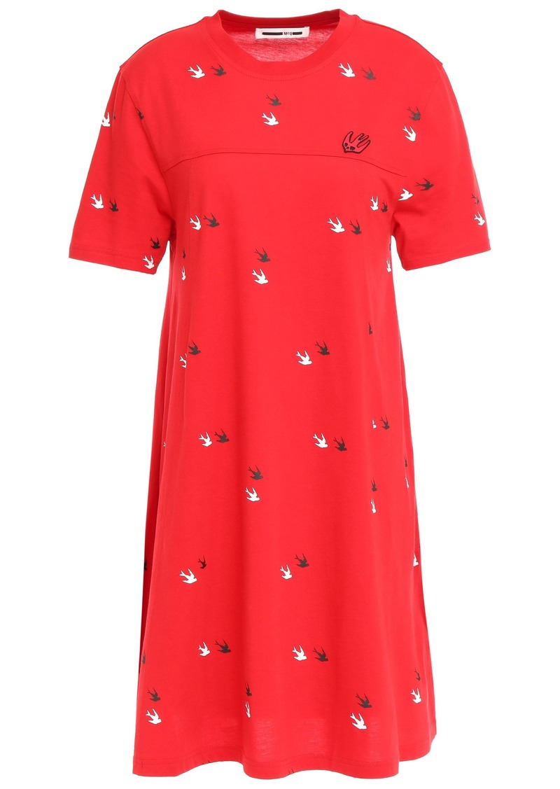 Mcq Alexander Mcqueen Woman Printed Cotton-jersey Mini Dress Tomato Red