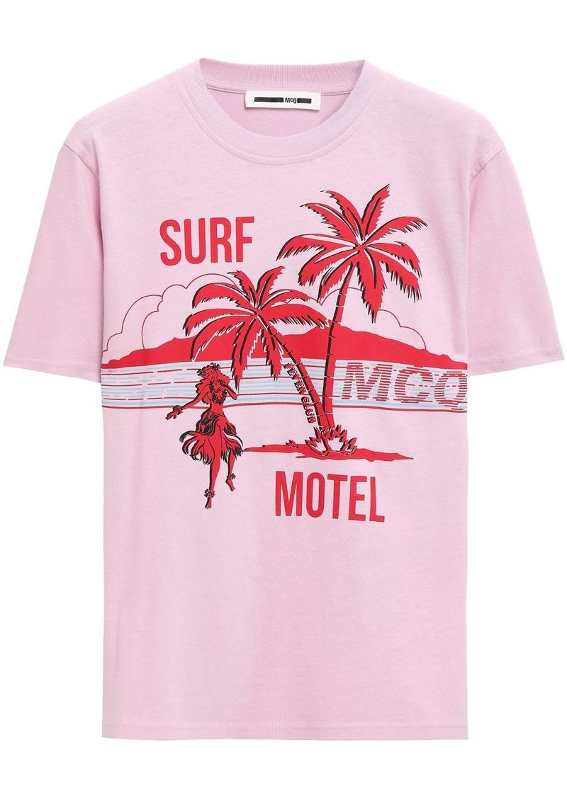 Mcq Alexander Mcqueen Woman Printed Cotton-jersey T-shirt Bubblegum