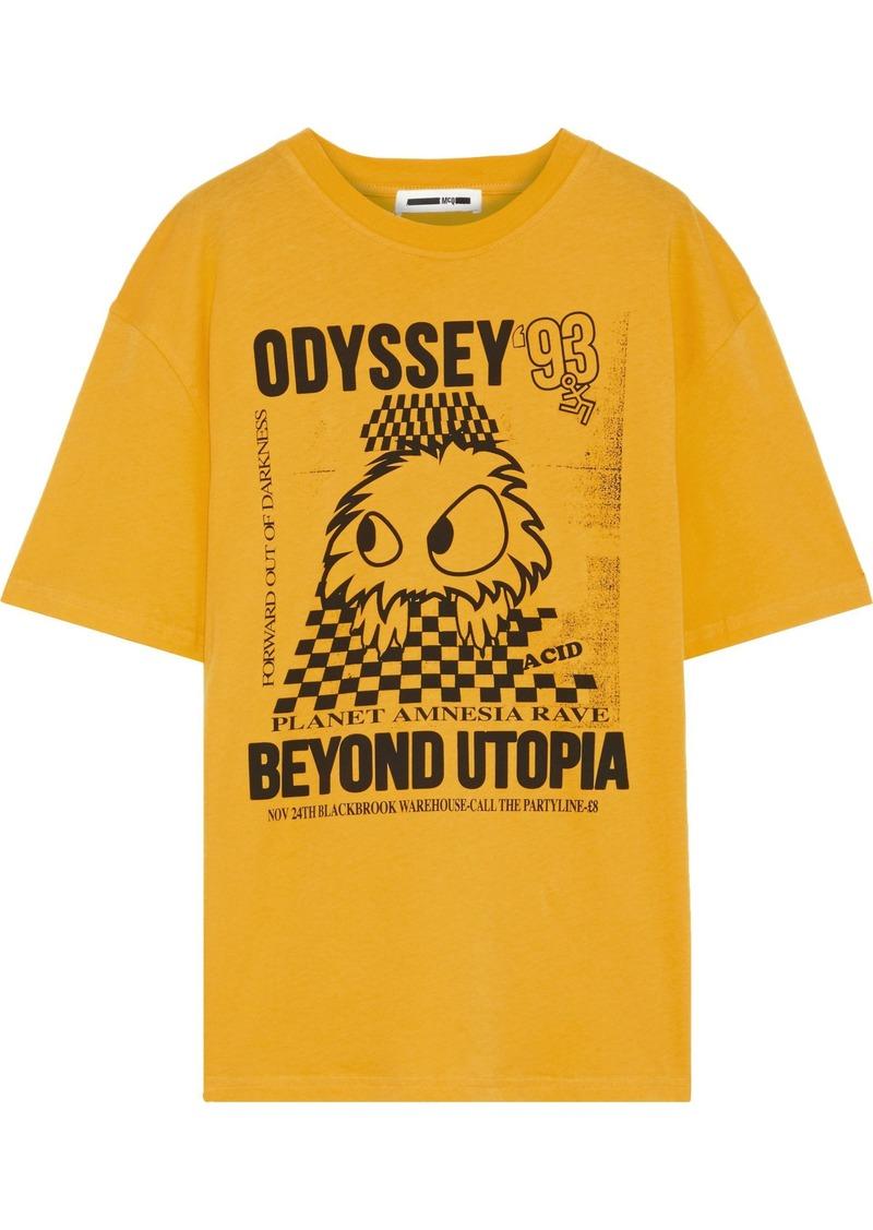 Mcq Alexander Mcqueen Woman Printed Cotton-jersey T-shirt Marigold