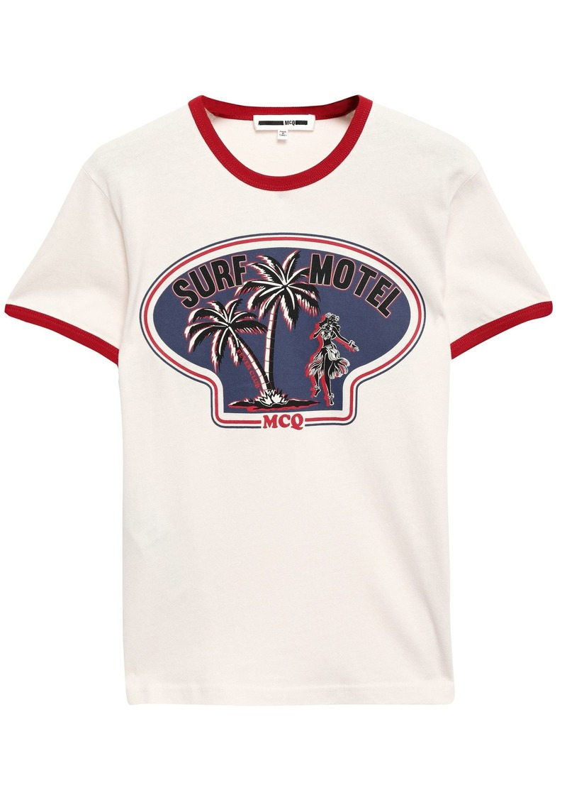 Mcq Alexander Mcqueen Woman Printed Cotton-jersey T-shirt Off-white