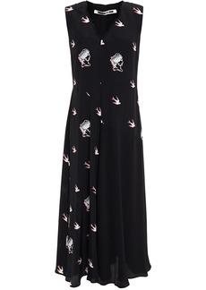 Mcq Alexander Mcqueen Woman Paneled Printed Crepe De Chine Midi Dress Black