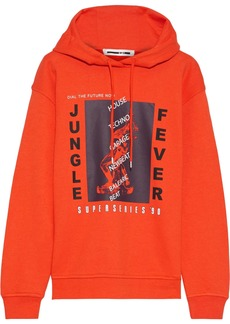 Mcq Alexander Mcqueen Woman Printed French Cotton-blend Terry Hoodie Bright Orange