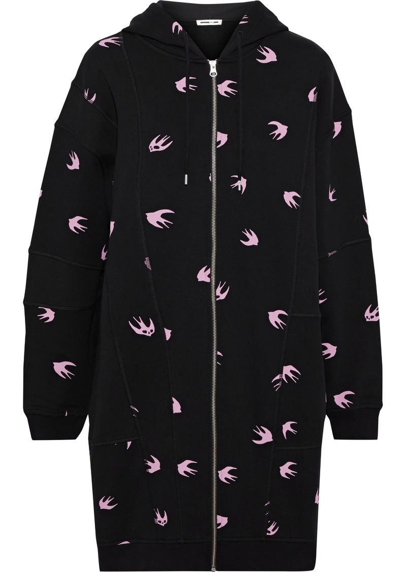 Mcq Alexander Mcqueen Woman Printed French Cotton-terry Hooded Mini Dress Black