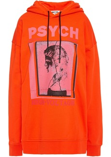 Mcq Alexander Mcqueen Woman Printed French Cotton-terry Hoodie Bright Orange