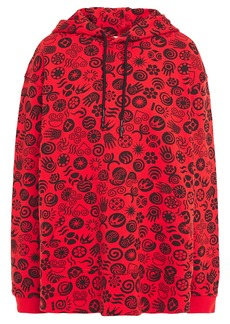 Mcq Alexander Mcqueen Woman Printed French Cotton-terry Hoodie Tomato Red