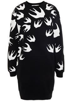 Mcq Alexander Mcqueen Woman Printed French Cotton-terry Mini Dress Black