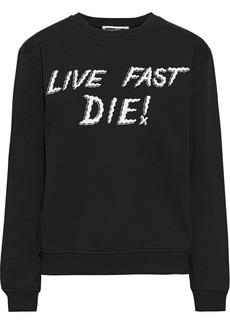 Mcq Alexander Mcqueen Woman Printed French Cotton-terry Sweatshirt Black