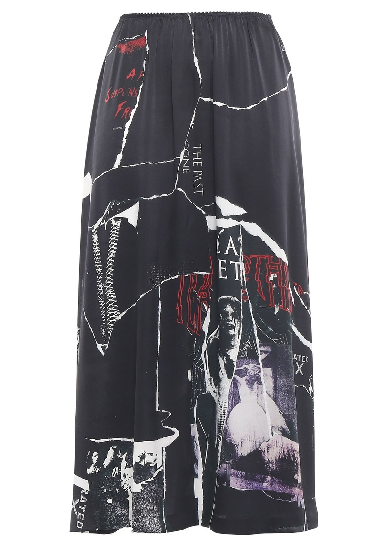 Mcq Alexander Mcqueen Woman Printed Silk-satin Midi Skirt Black
