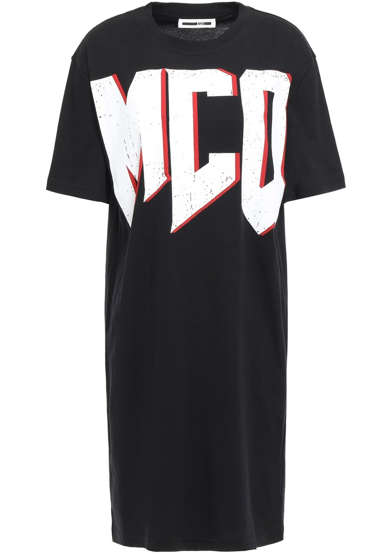 Mcq Alexander Mcqueen Woman Printed Stretch-cotton Jersey Mini Dress Black