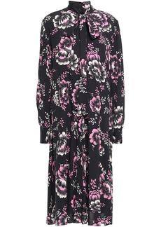 Mcq Alexander Mcqueen Woman Pussy-bow Floral-print Crepe De Chine Midi Dress Black