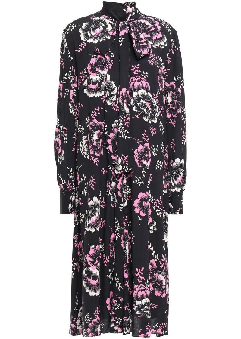 Mcq Alexander Mcqueen Woman Pussy-bow Floral-print Crepe De Chine Midi Dress Black