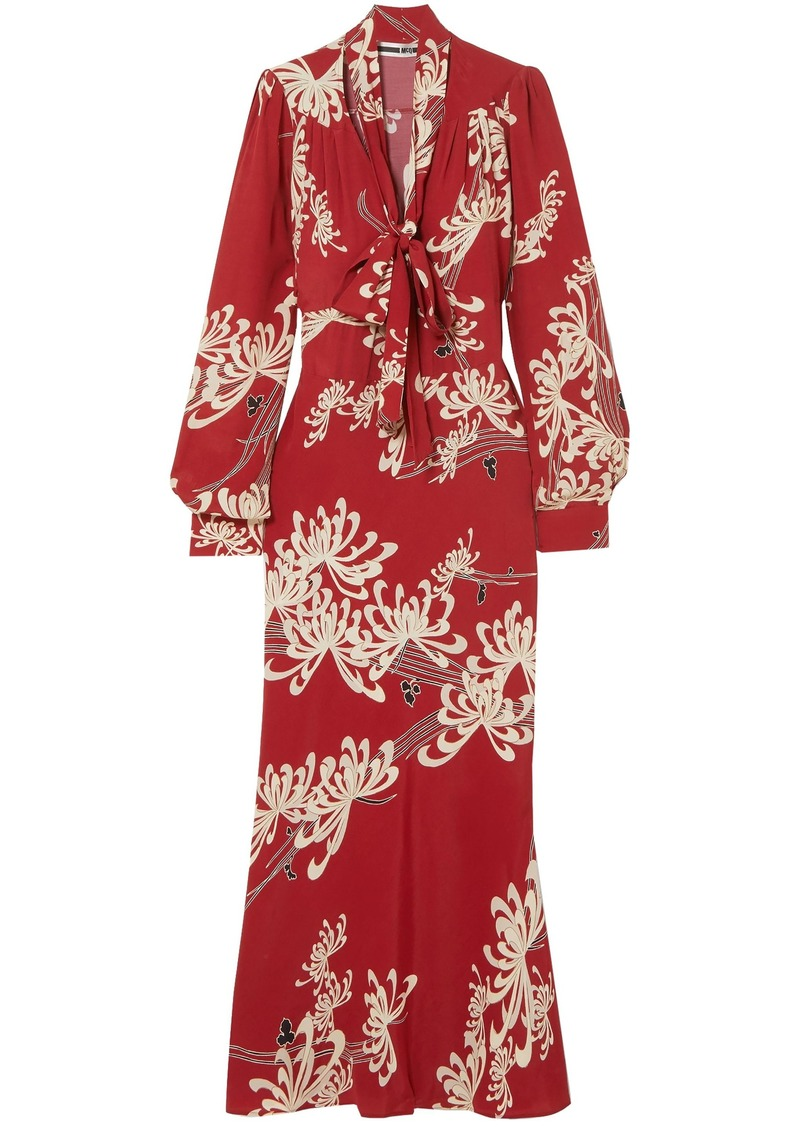 Mcq Alexander Mcqueen Woman Pussy-bow Printed Crepe De Chine Maxi Dress Red