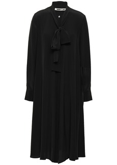 Mcq Alexander Mcqueen Woman Pussy-bow Silk Crepe De Chine Shirt Dress Black