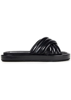 Mcq Alexander Mcqueen Woman Quilted Glossed-leather Slides Black