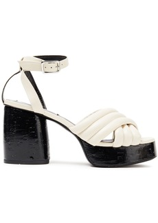 Mcq Alexander Mcqueen Woman Rise Quilted Leather Platform Sandals Ivory