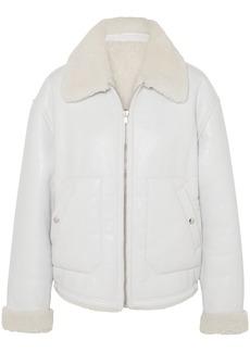 Mcq Alexander Mcqueen Woman Reversible Shearling Jacket Light Gray