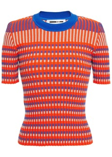 Mcq Alexander Mcqueen Woman Ribbed Striped Cotton-blend Top Bright Orange