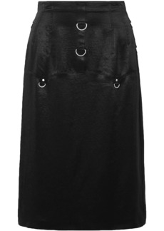 Mcq Alexander Mcqueen Woman Ring-embellished Crinkled-satin Skirt Black
