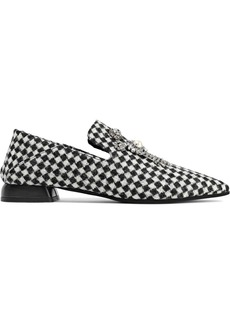 Mcq Alexander Mcqueen Woman Rose Embellished Checked Jacquard Slippers Black