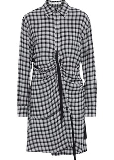 Mcq Alexander Mcqueen Woman Ruched Gingham Flannel Shirt Dress Gray