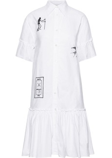 Mcq Alexander Mcqueen Woman Ruffle-trimmed Embroidered Cotton-poplin Shirt Dress White