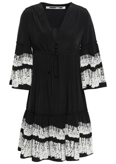 Mcq Alexander Mcqueen Woman Ruffle-trimmed Flocked Crepe De Chine Mini Dress Black