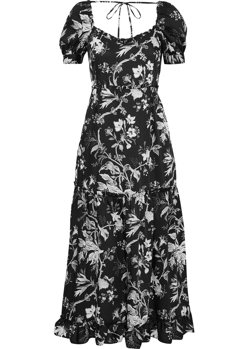 Mcq Alexander Mcqueen Woman Ruffle-trimmed Floral-print Satin-twill Midi Dress Black
