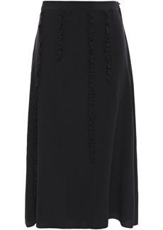 Mcq Alexander Mcqueen Woman Ruffle-trimmed Silk Crepe De Chine Midi Skirt Black