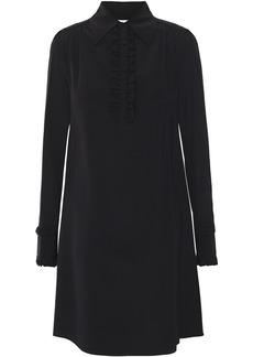 Mcq Alexander Mcqueen Woman Ruffle-trimmed Silk Crepe De Chine Mini Shirt Dress Black