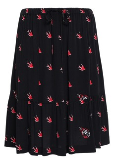 Mcq Alexander Mcqueen Woman Ruffled Printed Crepe Skirt Black
