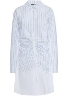 Mcq Alexander Mcqueen Woman Sateen-paneled Ruched Striped Cotton-poplin Mini Shirt Dress White