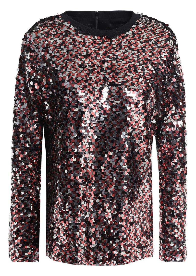 Mcq Alexander Mcqueen Woman Sequined Stretch-knit Top Multicolor