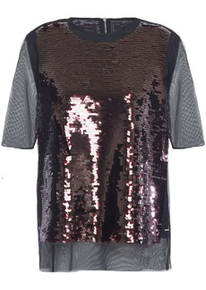 Mcq Alexander Mcqueen Woman Sequined Tulle Top Black