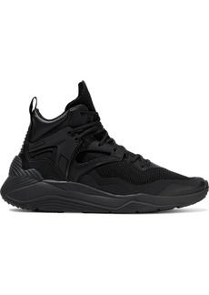 Mcq Alexander Mcqueen Woman Sodai Nubuck And Leather-trimmed Stretch-knit High-top Sneakers Black