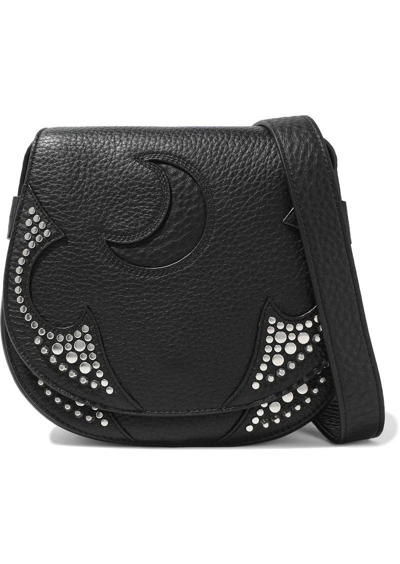 Mcq Alexander Mcqueen Woman Solstice Cutout Studded Pebbled-leather Shoulder Bag Black