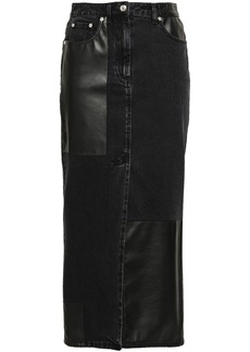 Mcq Alexander Mcqueen Woman Split-front Denim And Faux Leather Midi Skirt Charcoal