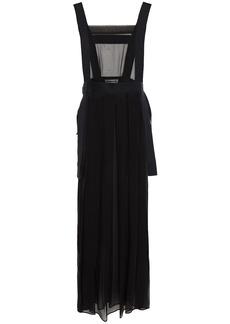 Mcq Alexander Mcqueen Woman Split-side Pleated Silk-chiffon Midi Dress Black